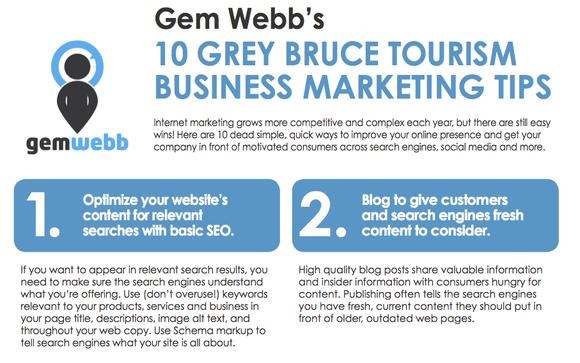 GreyBruce Top 10 Tourism Marketing Tips PDF by Gem Webb