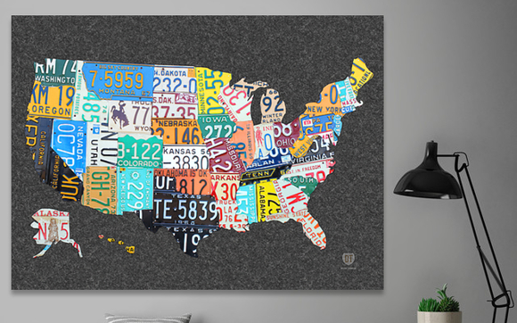 FLASH SALE: License Plate Map Canvas Print by Design Turnpike in ...