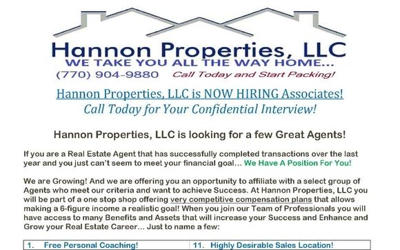 Hannon Properties, LLC is NOW HIRING by Hannon Properties