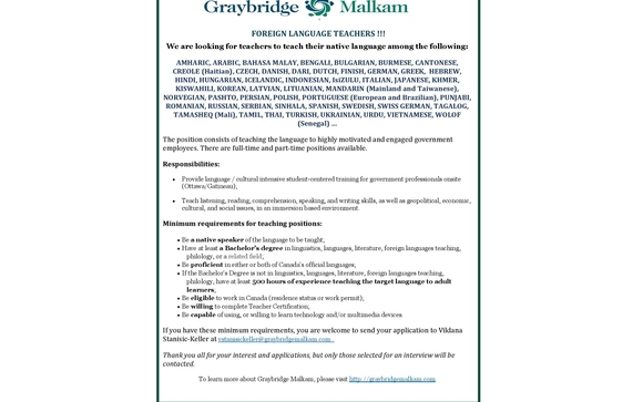 FOREIGN LANGUAGE TEACHERS by Graybridge Malkam in Ottawa, ON