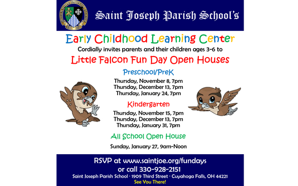 Little Falcon Fun Days Prek Open House By Saint Joseph Parish