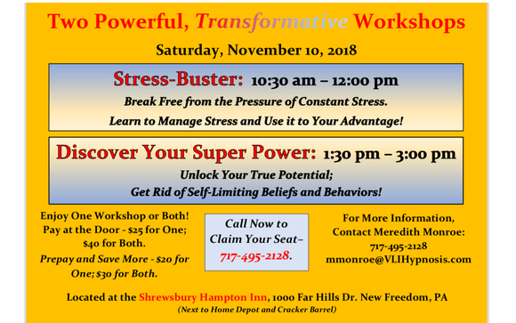 Stress Buster And Discover Your Super Power Workshops By V L I