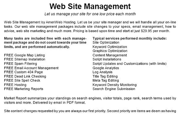 Web Site Management Services by AmeriWeb Hosting in
