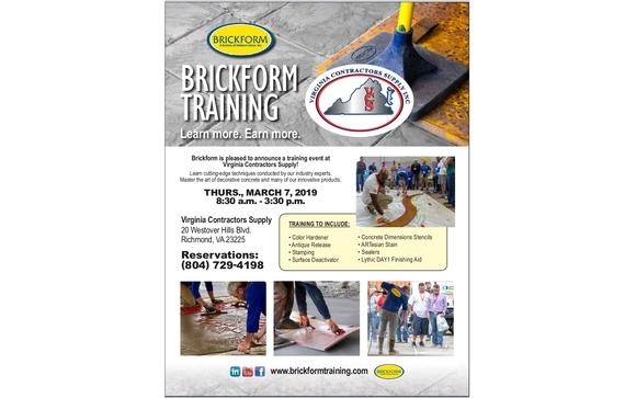 Decorative Concrete Training by Virginia Contractors Supply