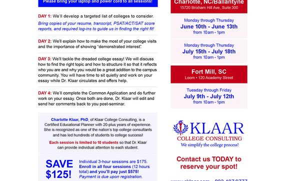 College Application Summer Camps by Klaar College Consulting LLC in