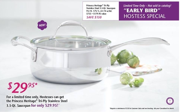 Early Bird Hostess Special By This Is Inside Princess House Cookware