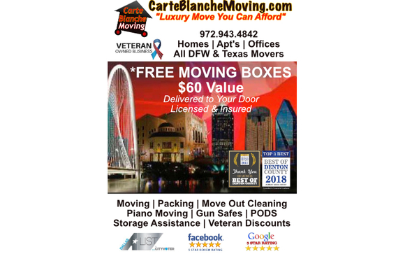 FREE Moving Boxes by Veteran Owned Mover CarteBlancheMoving