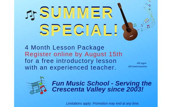 Music Lessons Summer Special by Fun Music School in La