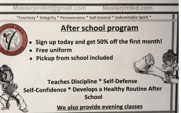 Afterschool Program by Master Jim's Taekwondo Academy in Rio