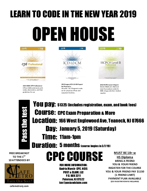 Medical Coding Coursere-Open House by POST & CLAIM, LLC in