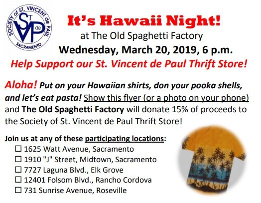 SVdPasta Thrift Store Fundraiser by St  Vincent de Paul
