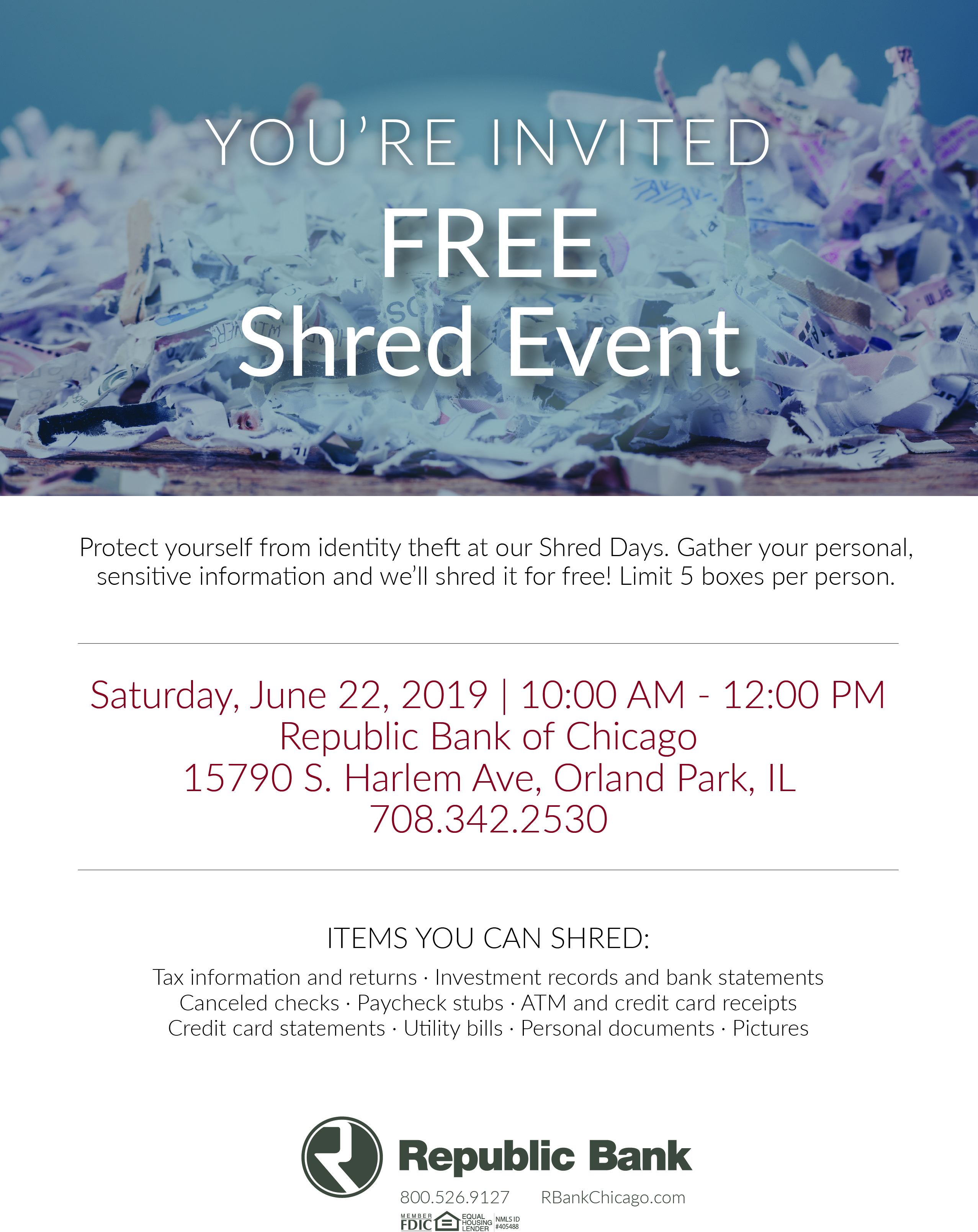 Shred Day by Republic Bank Of Chicago in Tinley Park, IL - Alignable
