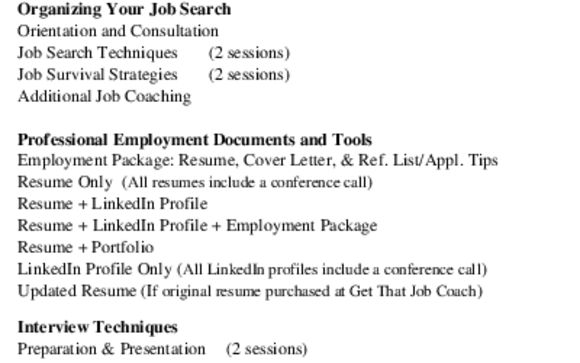 Job Search, Employment Package, Interview Prep and LinkedIn Profiles