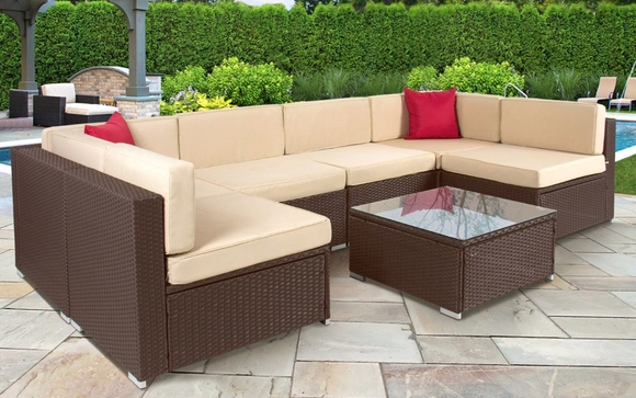 7pc Outdoor Patio Garden Furniture Wicker Rattan Sofa Set Sectional Brown Only 7 Days Left Learn More Http Ebay To 2ramzqj