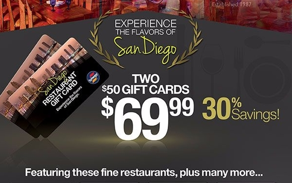 Purchase two $50.00 San Diego Restaurant Gift Cards for only $69.99 at Costco.