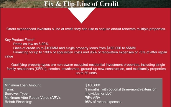 Fix And Flip Lines of Credit by Alliance Private Lending , LLC in