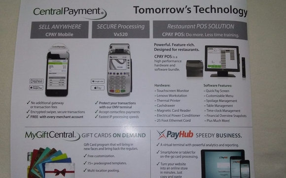 CPAY mobile/ Vx520/ Restaurant POS solution/ pay hub by Central