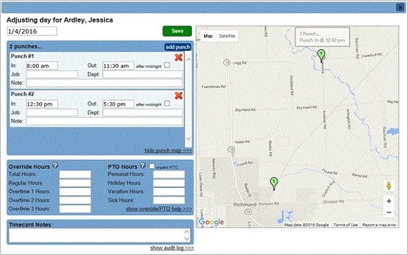 GPS Employee Punch Location Recording by OnTheClock - Online