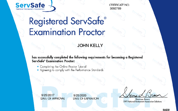 ServSafe Food Handler Online Instructor And Exam Proctor By