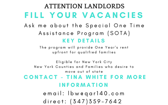 Special One Time Assistance Program called SOTA  by Queens