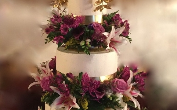 A BEautiful Birthday Cake With Real Flowers Stands Almost 4ft H Deep Dark Chocolate Banana Nut And Poppyseed Italian Merengue Buttercream Light Like