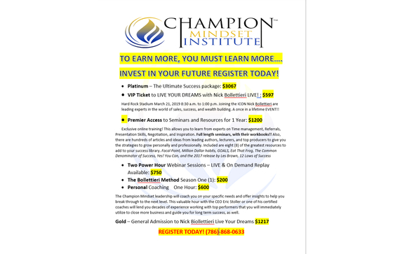CMI Course Pricing Grid by Champion Mindset Events in Miami