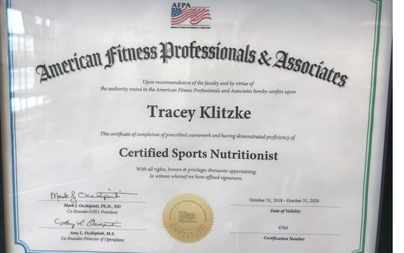 Certified Sports Nutritionist by Free Spirit Nutrition in