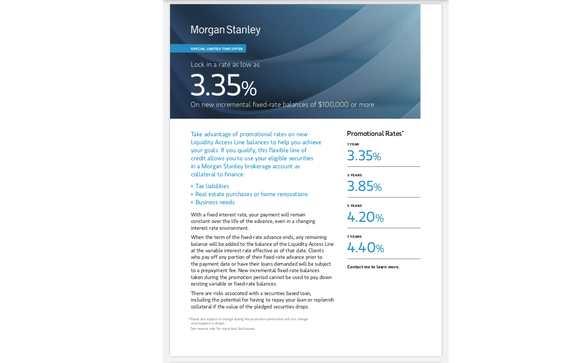 Liquidity Access Line Promotion by Morgan Stanley in Great Neck, NY